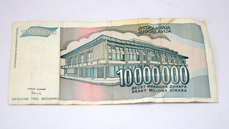 Vieux dinars de la Yougoslavie, monnaie fiduciaire photos libres de droits