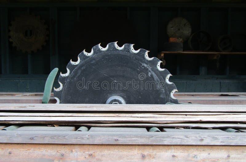 Vieux disque en bois circulaire de scie photographie stock libre de droits