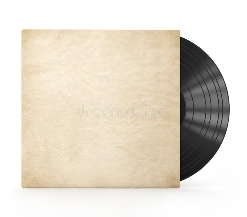 Vieux disque vinyle dans un cas de papier photo stock