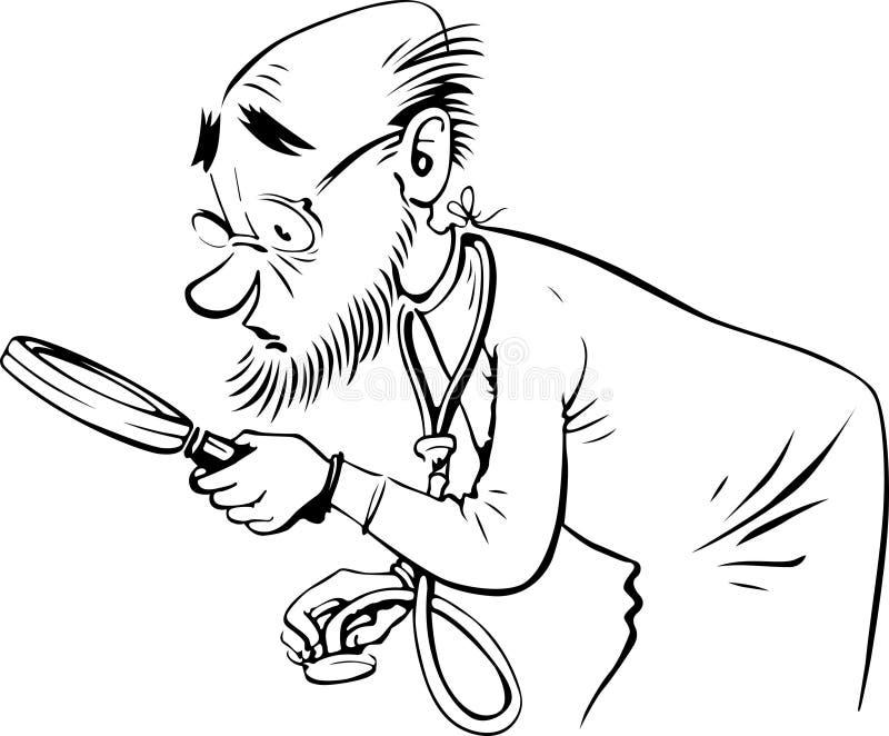 Vieux docteur illustration de vecteur