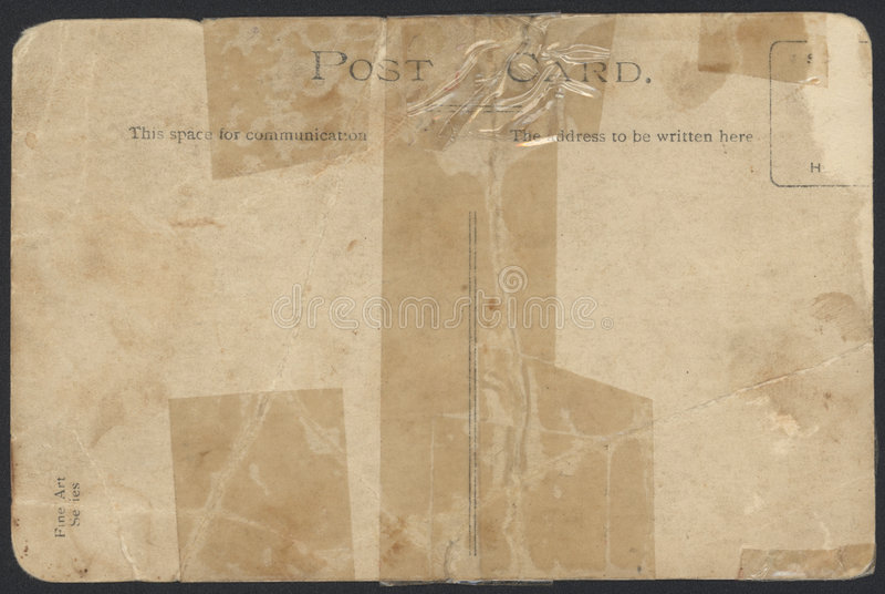 Vieux dos enregistré sur bande de carte postale image stock