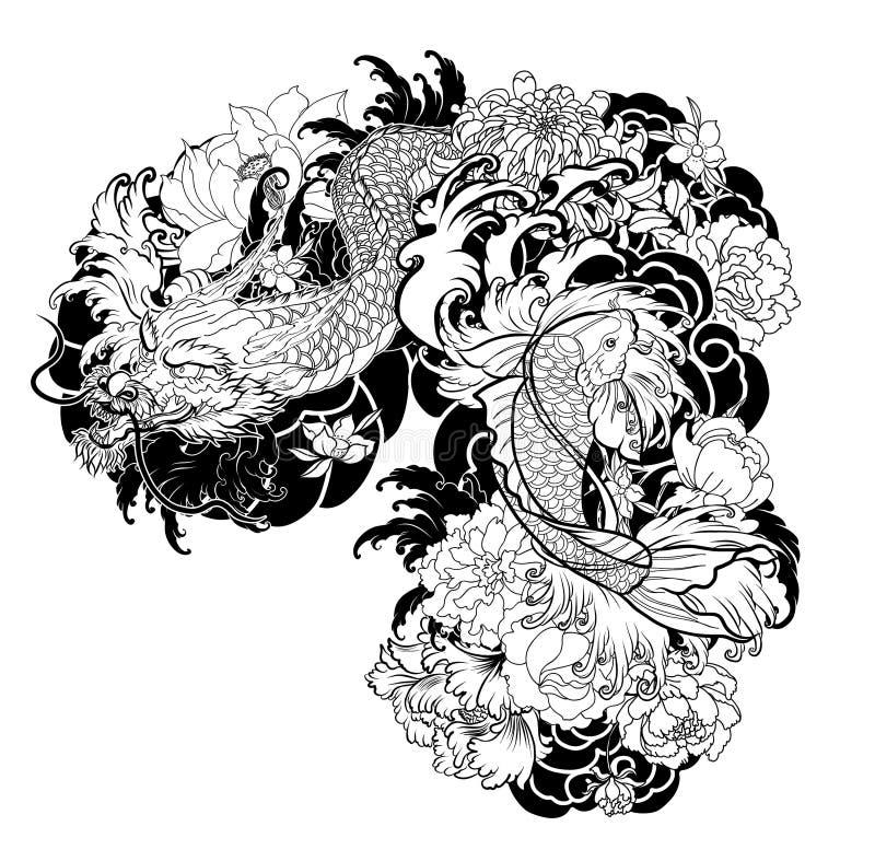 vieux dragon avec le style japonais de tatouage de carpe de koi illustration de vecteur. Black Bedroom Furniture Sets. Home Design Ideas