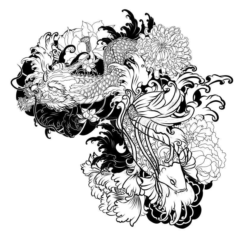 Vieux dragon avec le style japonais de tatouage de carpe for Koi japonais prix