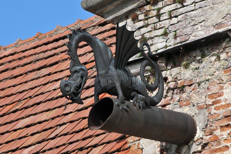 Vieux drain dans le plan rapproché de dragon de forme image stock
