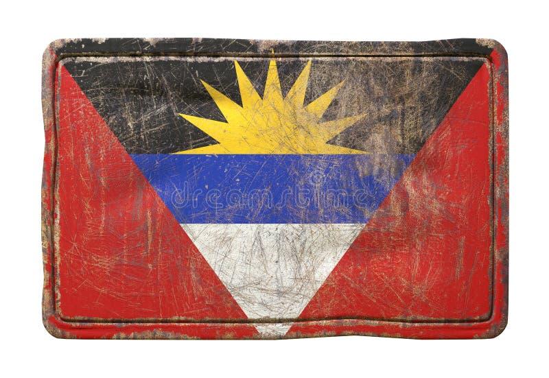 Vieux drapeau de l'Antigua-et-Barbuda illustration stock