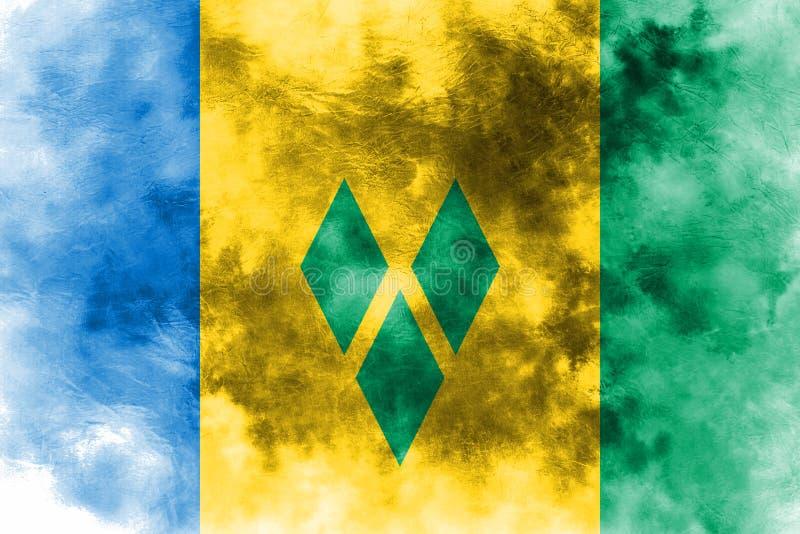 Vieux drapeau grunge de fond de Saint-Vincent-et-les-Grenadines illustration stock