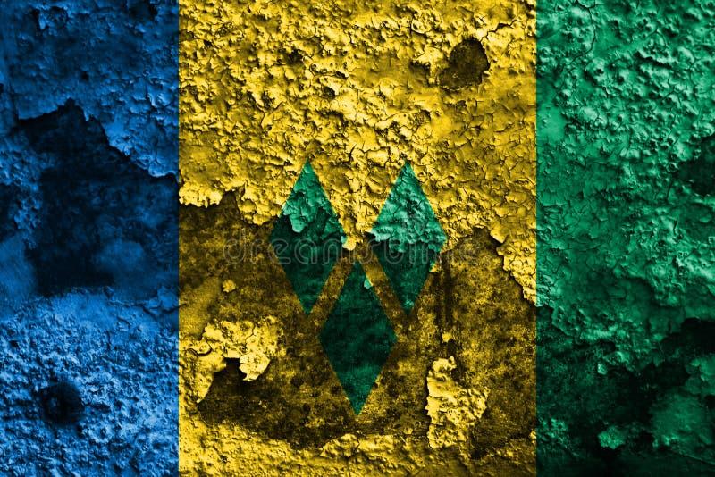 Vieux drapeau grunge de fond de Saint-Vincent-et-les-Grenadines illustration libre de droits