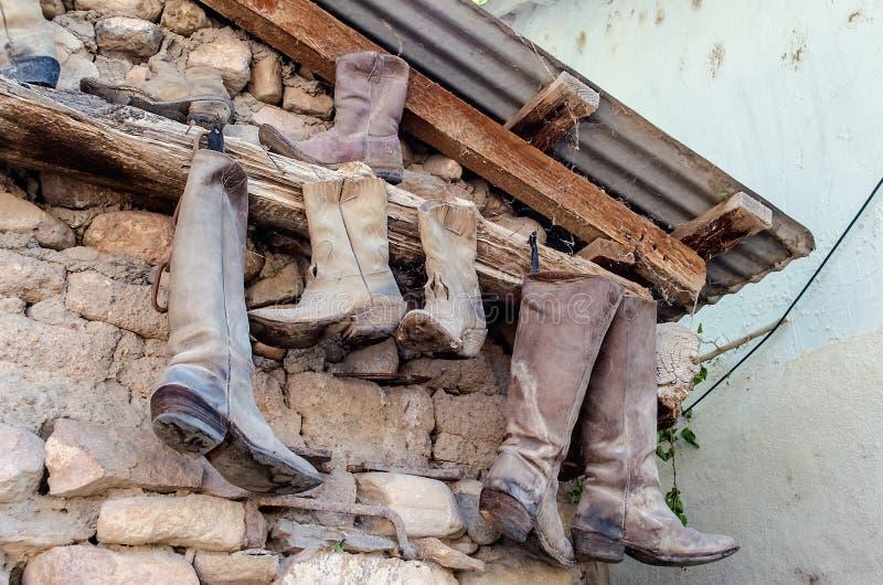 Vieux Dusty Cowboy Boots d'Arizona image stock