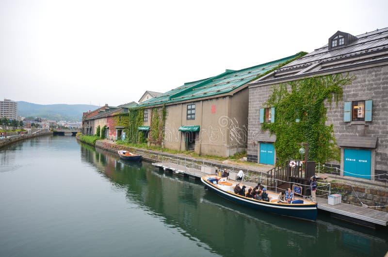 Vieux entrepôts le long du canal d'Otaru photographie stock libre de droits