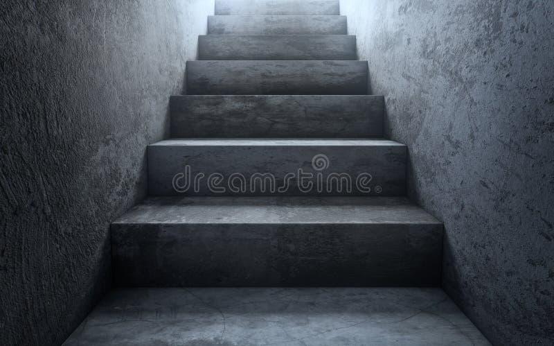 Vieux escaliers concrets sales à allumer La voie à la réussite 3d rendent illustration stock