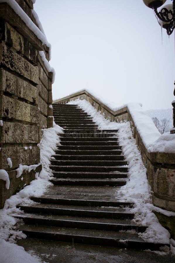 Vieux escaliers neigeux images libres de droits