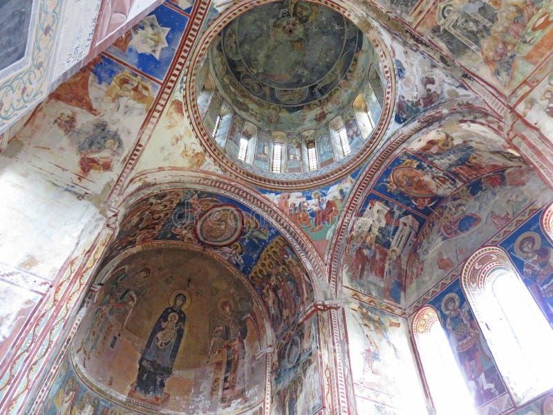 Vieux et antiques fresques dans le temple georgia Vidéo de dessous photo libre de droits
