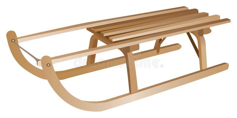Vieux-fashionned luge en bois de l'hiver illustration stock