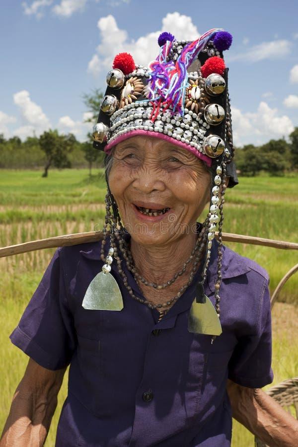 Vieux femme asiatique, Akha photos stock