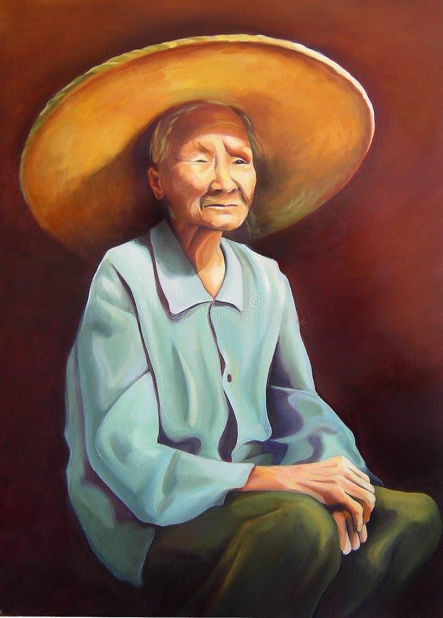 Vieux Femmes Chinois Avec Un Chapeau Photos libres de droits