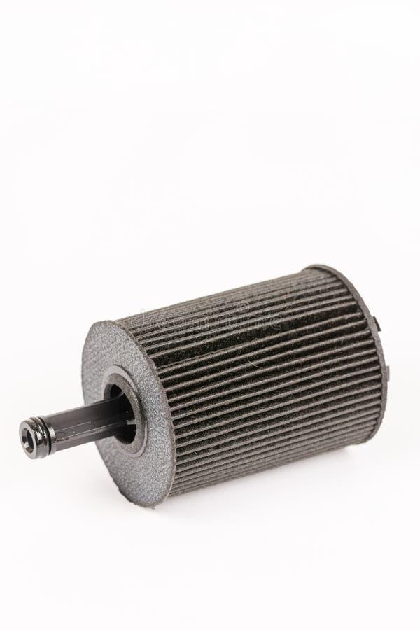 Vieux filtre à essence utilisé et sale de voiture d'isolement au-dessus du backgrou blanc photographie stock