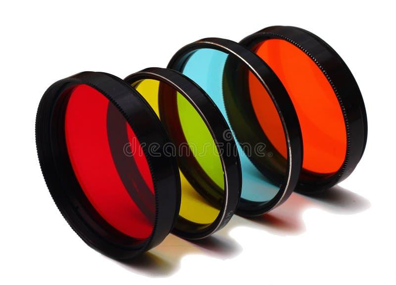 Vieux filtres de photo couleur sur le fond blanc photos stock