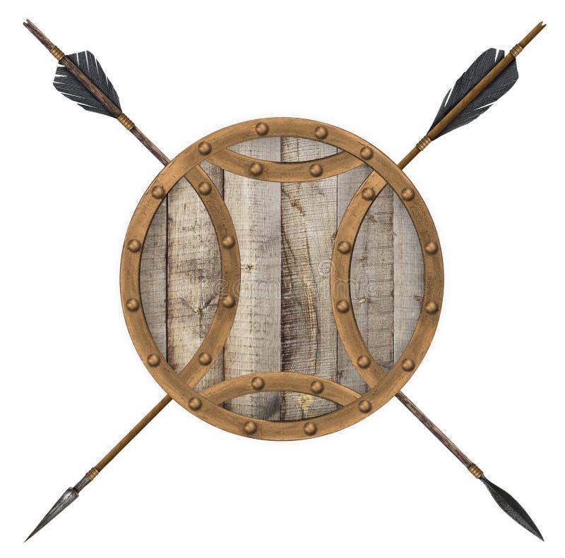 Vieux flèche antique et bouclier en bois d'isolement image libre de droits