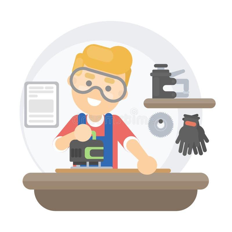 Vieux fonctionnement de charpentier illustration libre de droits