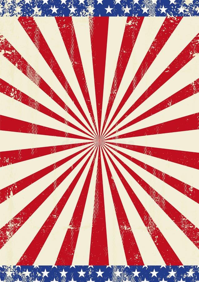 Vieux fond américain de rayon de soleil illustration de vecteur