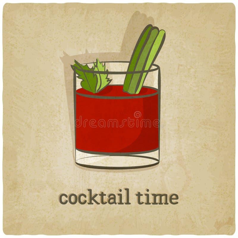 Vieux fond avec le cocktail illustration de vecteur