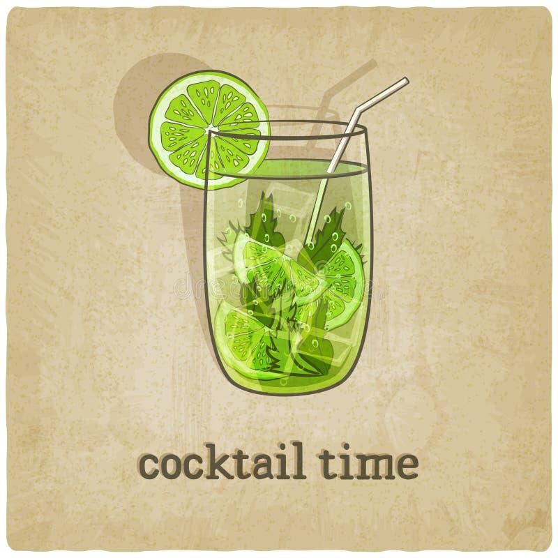 Vieux fond avec le cocktail illustration stock