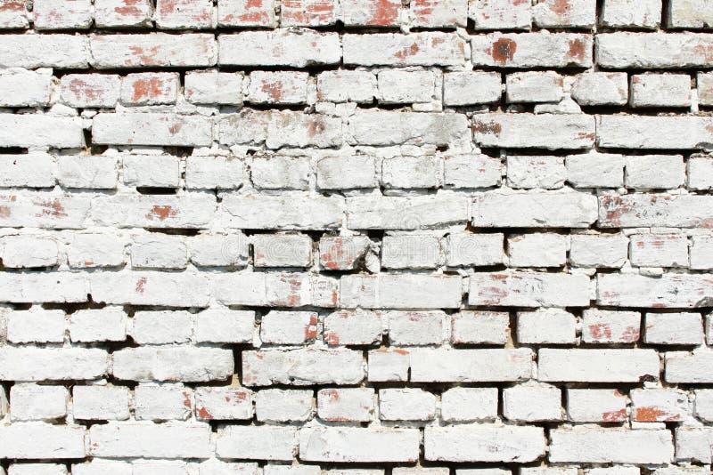 Vieux fond blanc de mur de briques Fond texturis? Plâtre minable blanchi sale Texture blanche de mur de briques L'espace pour le  images libres de droits