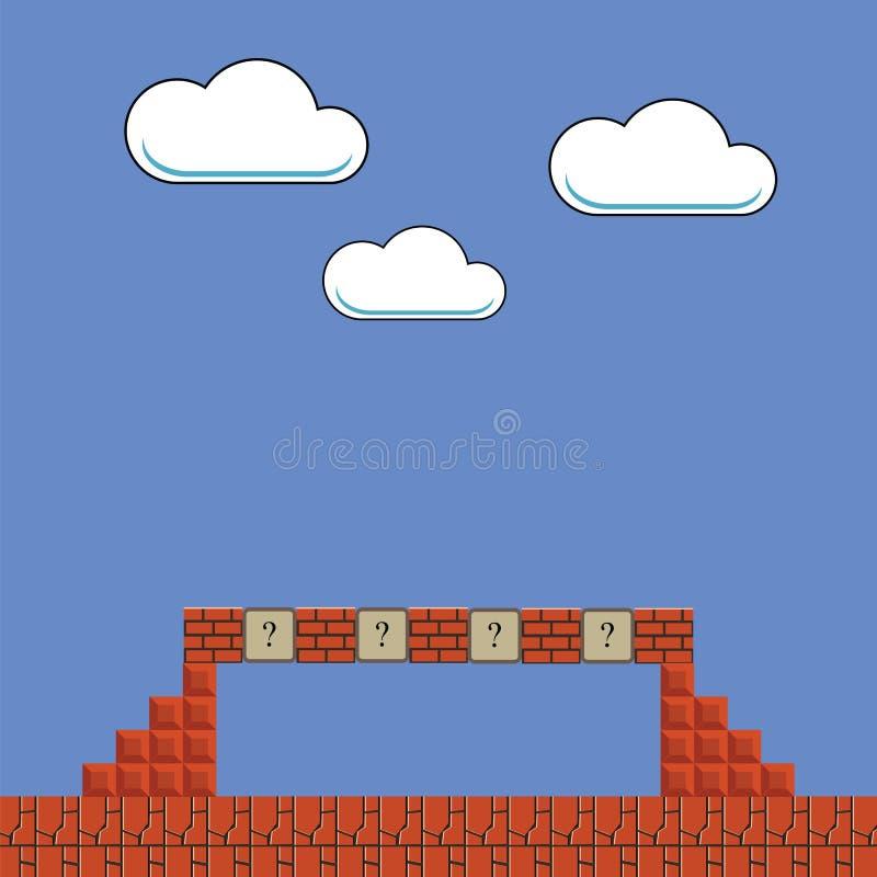 Vieux fond de jeu Rétro arcade classique Paysage de jeu vidéo de pixel Éléments de design de l'interface de jeu vidéo illustration libre de droits
