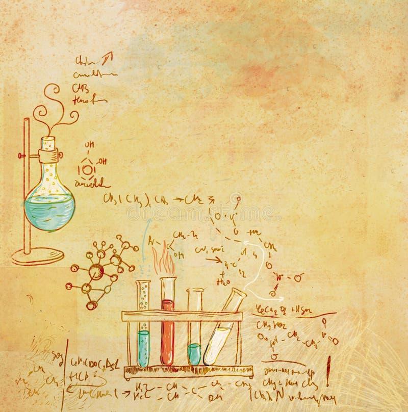 Vieux fond de laboratoire de chimie illustration de vecteur