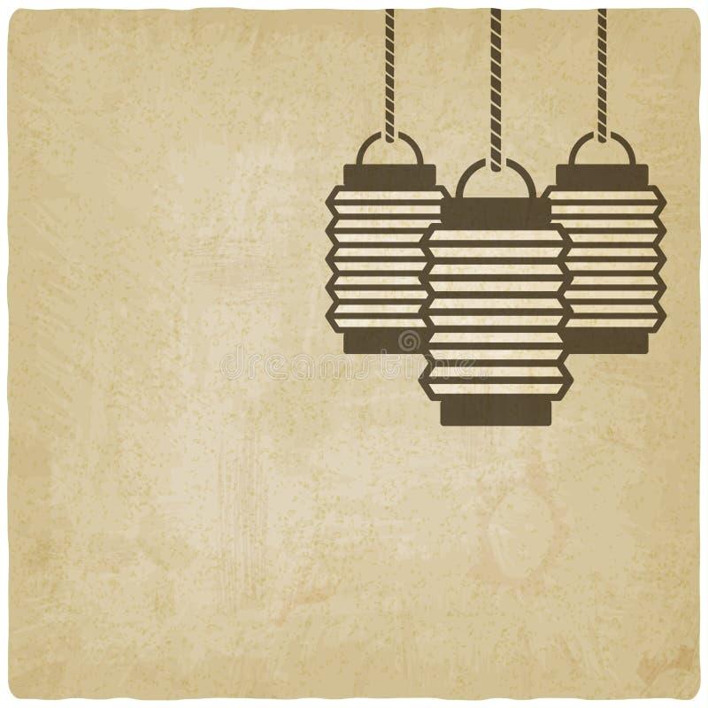 Vieux fond de lanterne chinoise illustration de vecteur