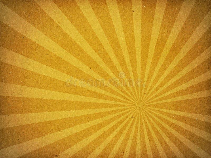 Vieux fond de papier de rayon de Sun de texture de carton images stock