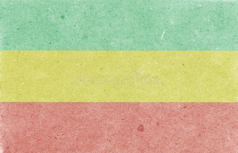 Vieux fond de papier Drapeau horizontal de Rastafarian, texture, illustration de trame photos libres de droits