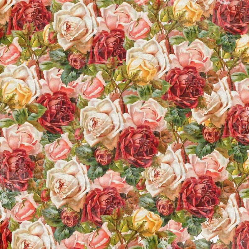 Vieux fond de papier peint de roses illustration stock