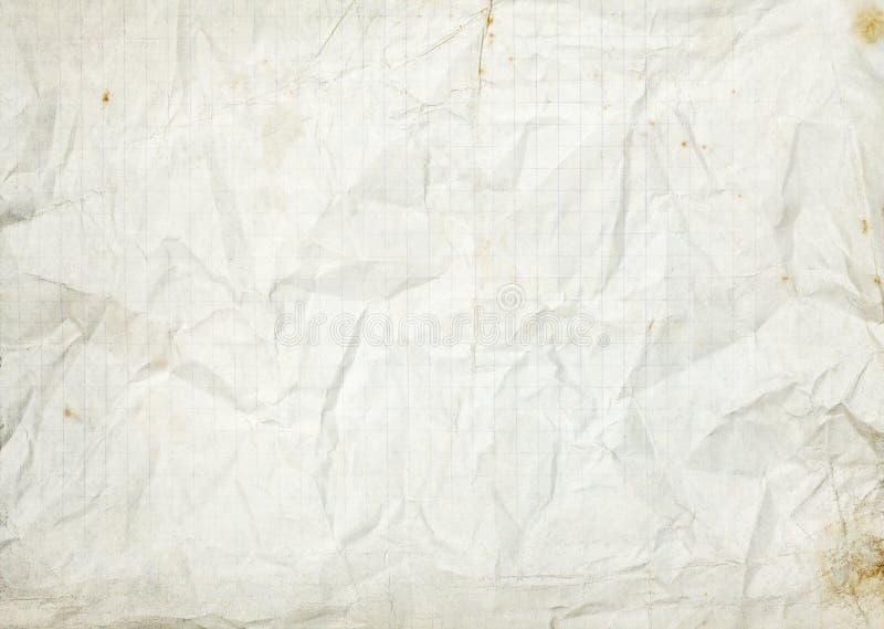 Vieux fond de papier rayé blanc vide chiffonné photographie stock libre de droits