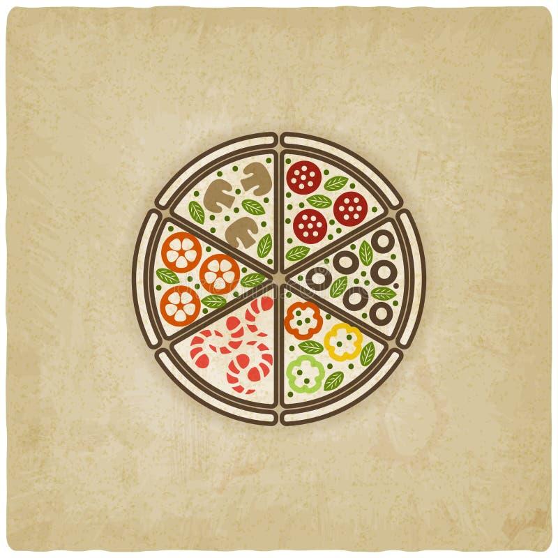 Vieux fond de pizza illustration stock
