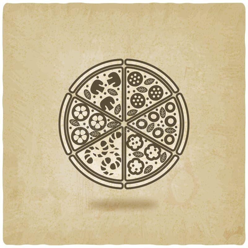Vieux fond de pizza illustration de vecteur