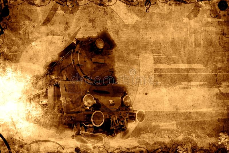 Vieux fond de sépia de train de vapeur images libres de droits