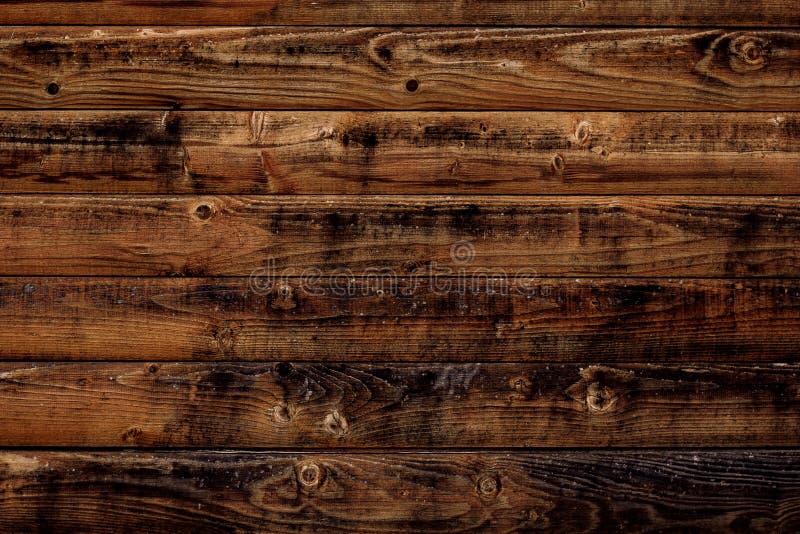 Vieux fond en bois de texture Panneaux en bois bruns foncés, planches Surface de parquet superficiel par les agents minable foncé photos stock