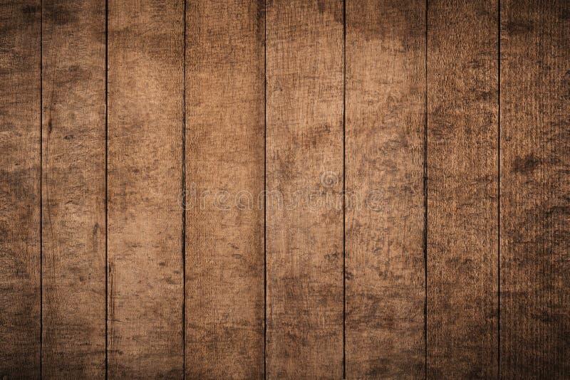 Vieux fond en bois texturisé foncé grunge, la surface de la vieille texture en bois brune, panneautage en bois de brun de vue sup photos stock