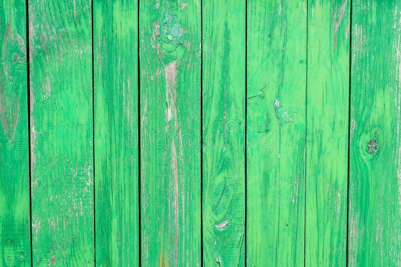 Vieux fond en bois vert de barrière photographie stock