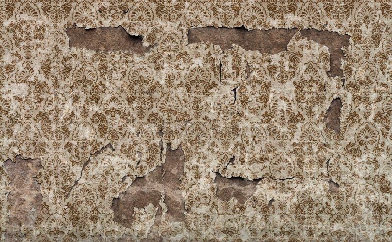 Vieux fond endommagé de mur de papier peint de cru photographie stock libre de droits