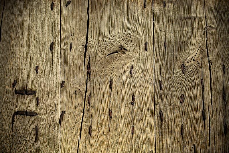 Vieux fond grunge en bois avec les clous rouillés en métal photos libres de droits