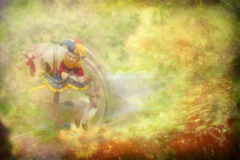 Vieux fond, harlequin et cheval de jouet illustration libre de droits