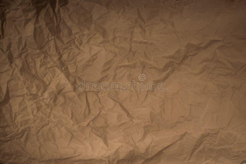 Vieux fond simple chiffonné de texture de papier d'emballage image stock