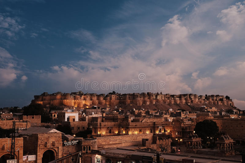 vieux fort de Jaisalmer au coucher du soleil image libre de droits