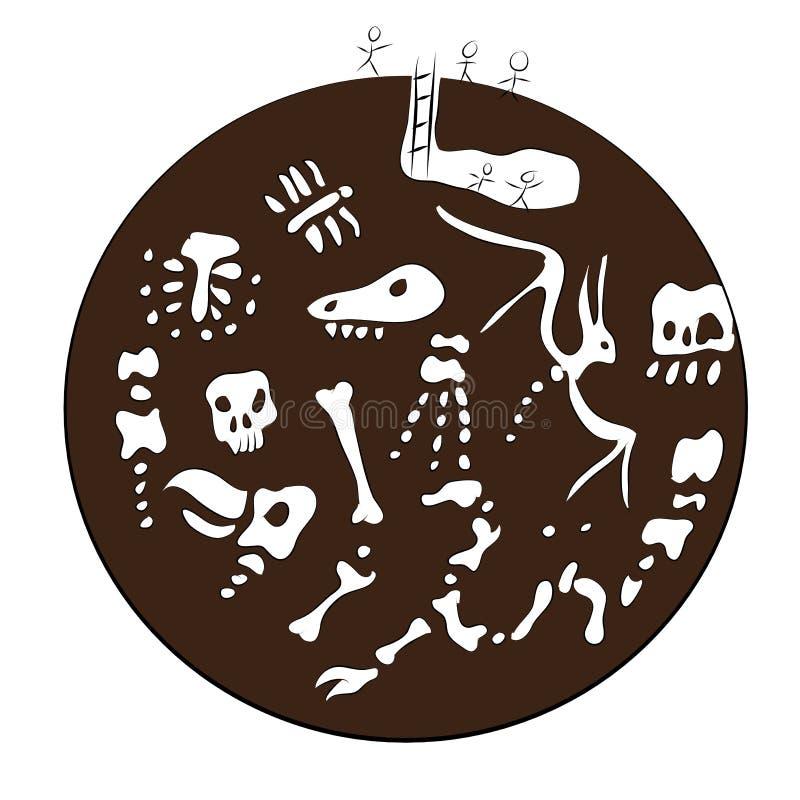 Vieux fossiles illustration stock