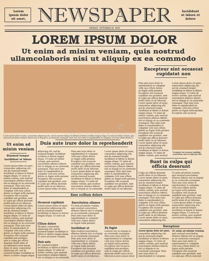 vieux frontpage de journal illustration de vecteur