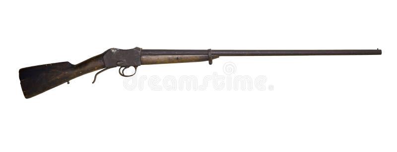Vieux fusil de chasse de chasse, converti d'un fusil d'armée, sur un fond blanc photos stock