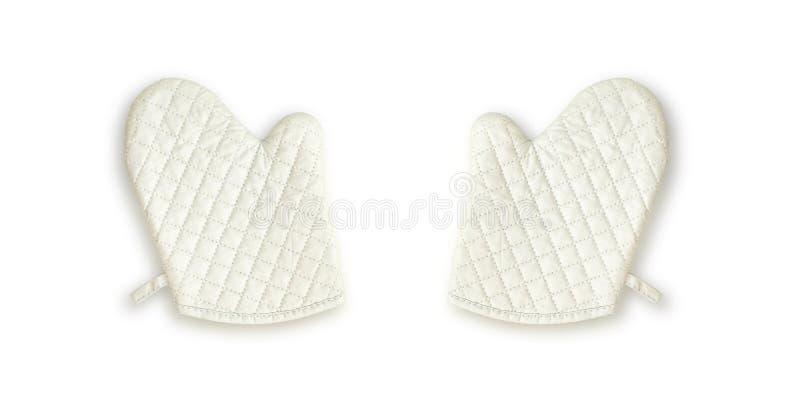 Vieux gant blanc de four de tissu de plan rapproché pour gauche et droit pour faire cuire d'isolement sur le fond blanc photos stock