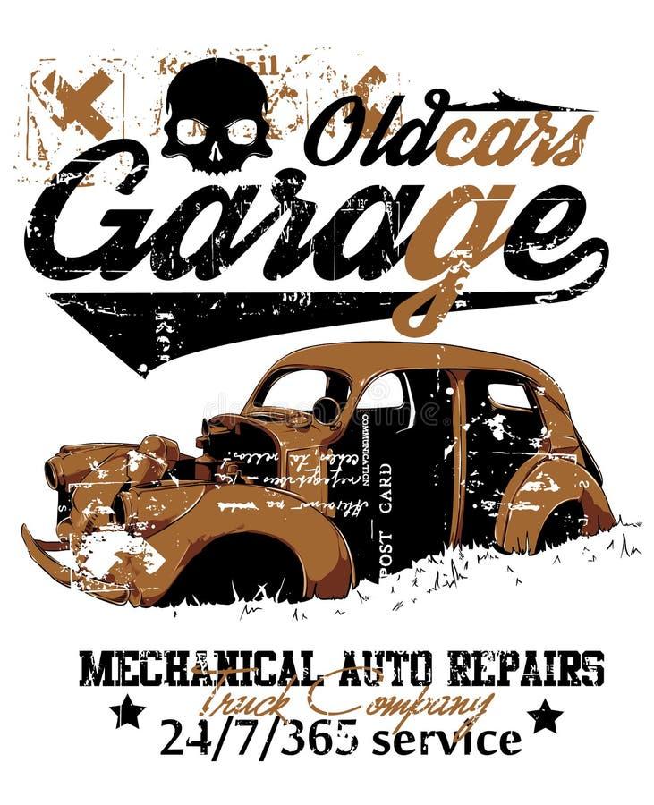 Vieux garage de voiture illustration de vecteur